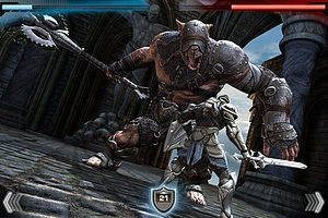 A screenshot showing combat in Infinity Blade....