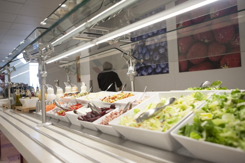 A salad bar as part of the extensive eatery at eBay's new building.
