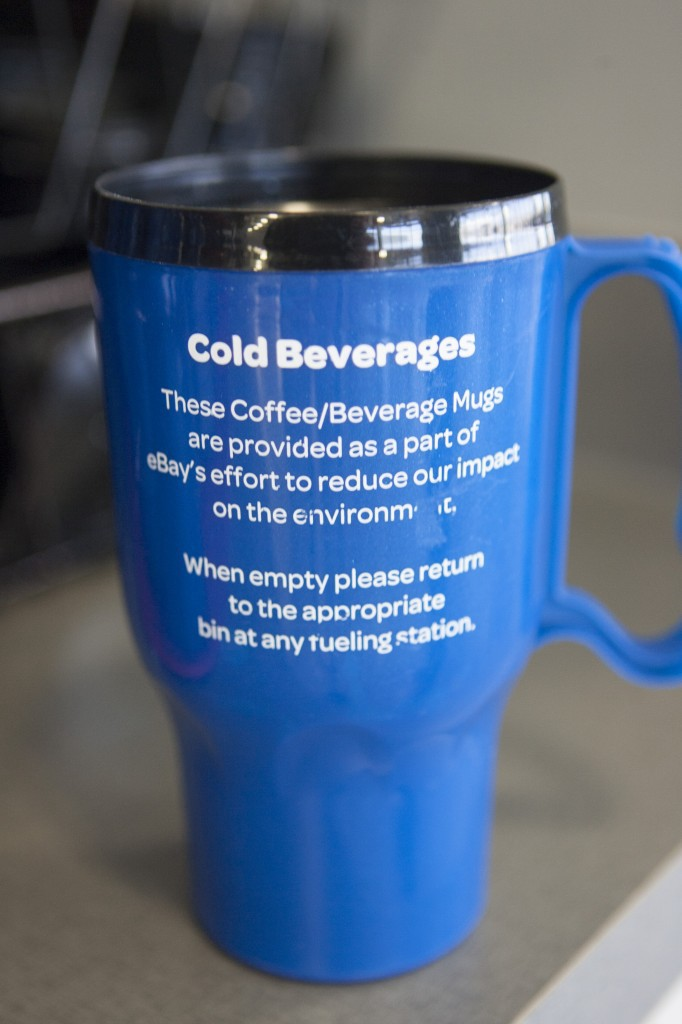 A message on every reusable cup at eBay's facility in Draper, Utah.