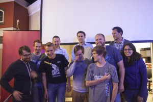 The Wizard War team celebrating their victory at Startup Weekend